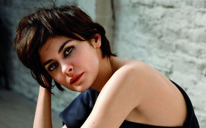 Descargar fondos de pantalla Audrey Tautou, retrato, la actriz francesa, morena, hermosa mujer