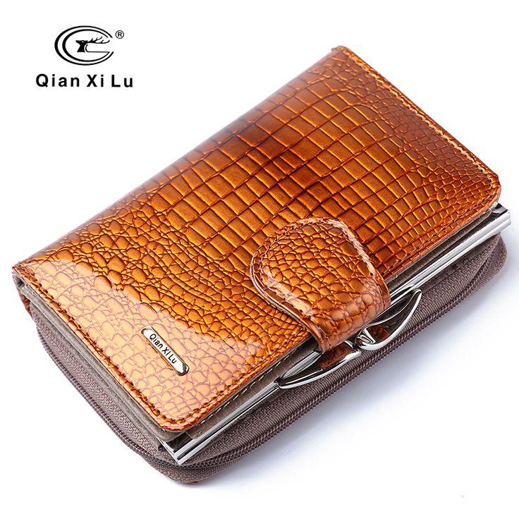 Fashion Echt Lackleder Frauen Kurze Geldbörsen Kleine Geldbörse Tasche Kreditkarte Brieftasche Weibliche Geldbörsen Geldscheinklammer Gold farbe