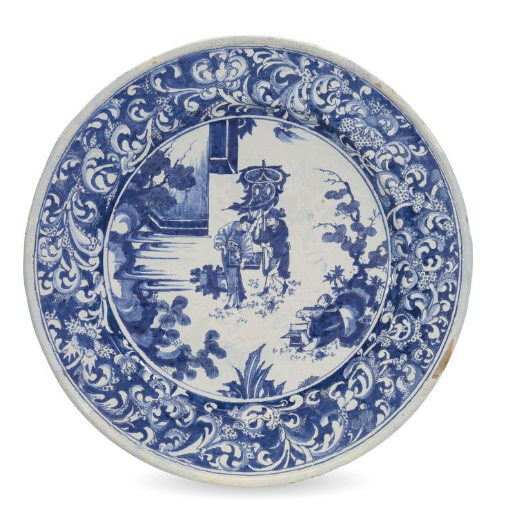 A Nevers faience blue and white charger, late 17th century painted in…