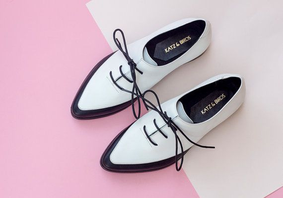 Women Saddle Shoes, Black And White Leather Shoes, Women