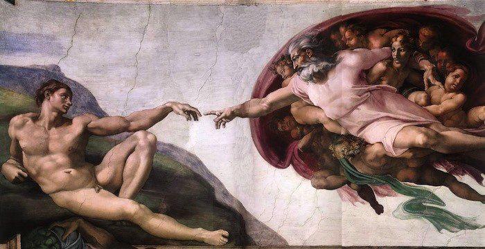 Adán recibiendo la mano de dios, de Miguel Ángel