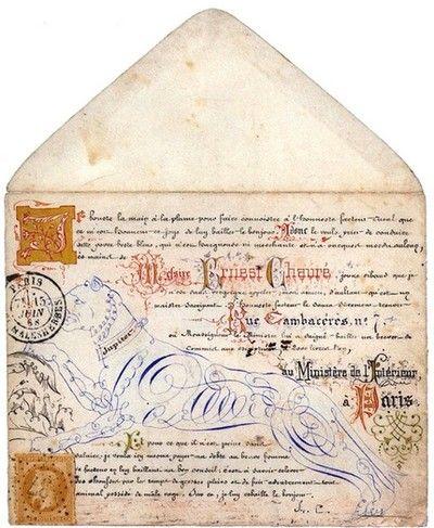 Calligraphies et enluminures sur enveloppe -1868.