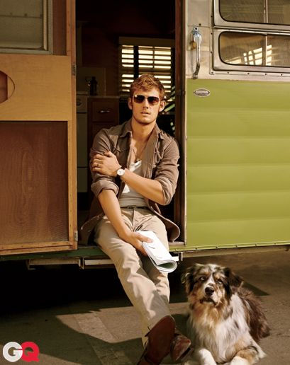 Alex Pettyfer—Corduroy shirt by Dolce & Gabbana. Tank top by Dolce & Gabbana. Jeans by ck one. Shoes by Bally. Sunglasses by Salt Optics. Watch by Tissot.