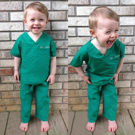 Just like the real ones that doctors and nurses wear, these monogrammed infant and toddler scrubs are a unique personalized gift idea! Available in hot pink, green, and blue, our personalized scrubs make the perfect gift for the doctor or nurse in training, or for creative dress up play! They also make a great sibling gift to wear to the hospital to pick up the new baby. Each set comes with top and pants. Top has a shoulder snap closure for easy over-the-head changing. With an elastic…
