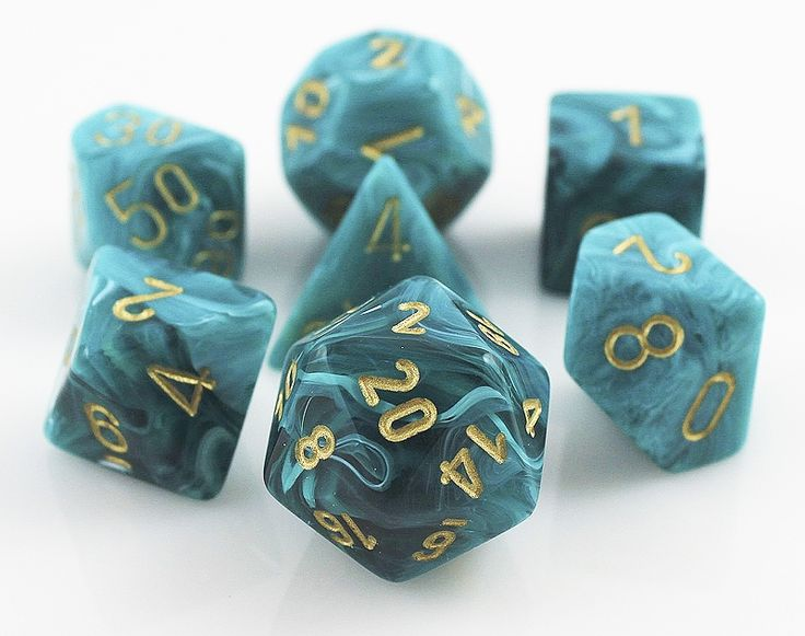RPG Dice Set (Vortex Teal) role playing game dice + bag