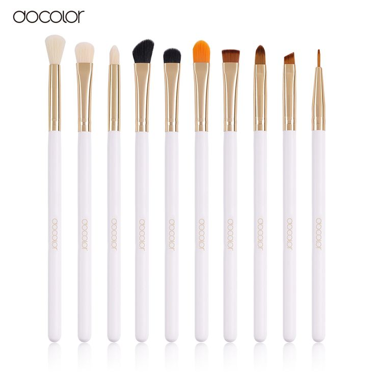 docolor Professional 10 Pcs/Sets Eye Shadow Concealer Eyebrow Lip Brush Makeup Brushes Comestic Tool Make Up Eye Brushes Set