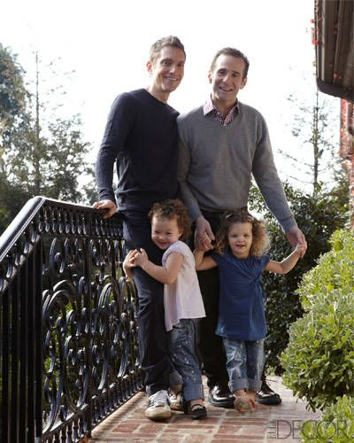 Owners of a Hollywood Classic home: Hyman, left, and Mutchnick, with their twin daughters, Evan, left, and Rose.
