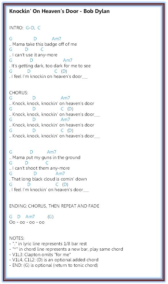 Knockin' On Heaven's Door - Bob Dylan. Found on http://tabs.ultimate-guitar.com, formatted to be pinnable.