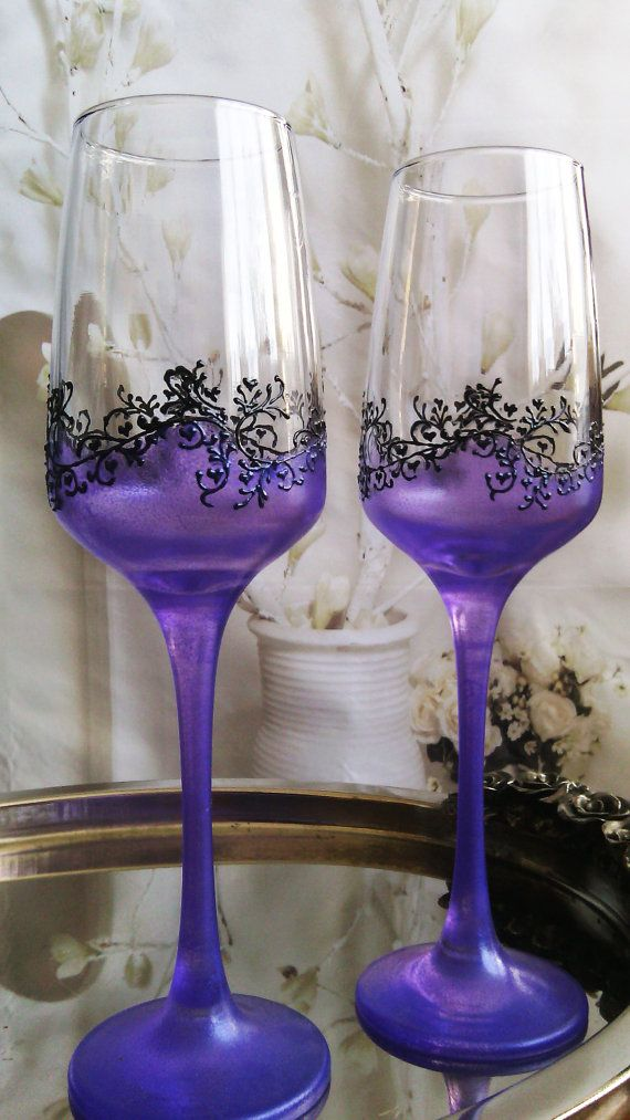Set of 2 hand painted champagne flutes in purple and black lace wedding toasting glasses by PaintedGlassBiliana