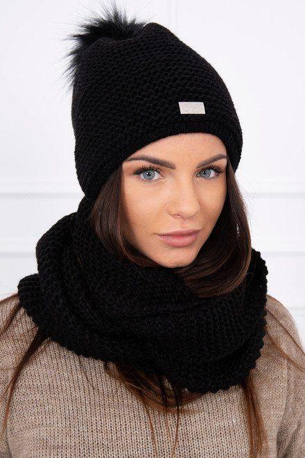 e96cdb373 Dámska pletená čiapka a šál čierna | Dámske čiapky a šály | Crochet ...