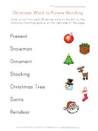 printable christmas word matching - Holiday Printables For Kids