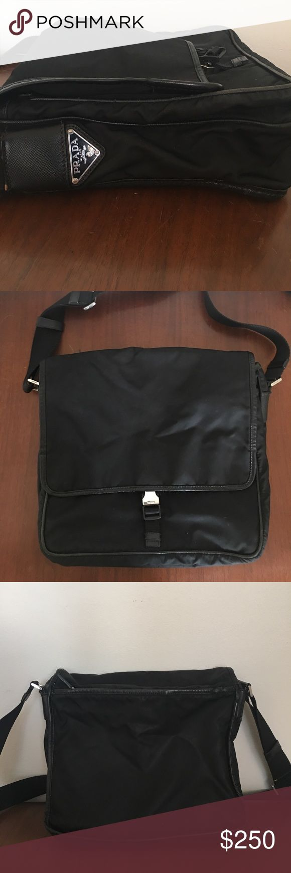 Authentic 2007 PRADA messenger bag. Black microfiber with leather trim. Adjustable strap. Nice size, not too big. Works for male or female. Slight wear on leather trim and small tear on inner lining but nothing major. Prada Bags Crossbody Bags