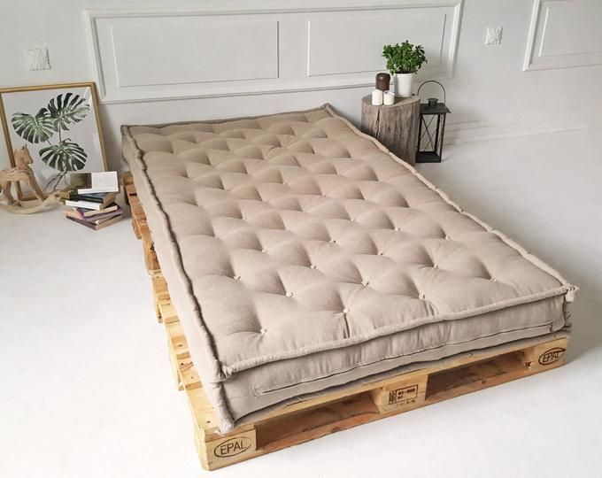 4 Tufted Daybed Cushion Oeko Tex Certified Wool Filling All Natural Linen Cotton Or Wool Fabric Any Size On Request Wool Mattress French Mattress Mattress