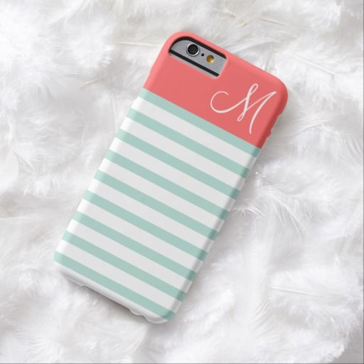 Awesome iPhone 6 Case! Mint and Coral Preppy Stripes Custom Monogram iPhone 6 Case. It's a completely customizable gift for you or your friends.