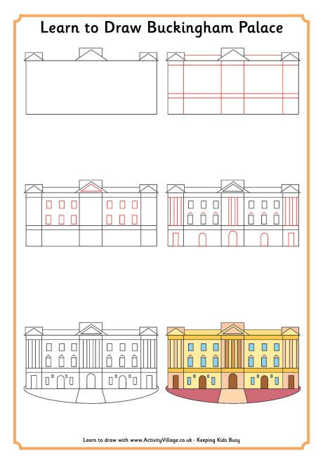 Learn to draw Buckingham Palace from Activity Village (printable)