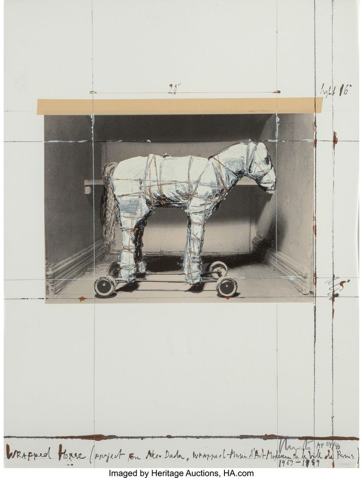 Christo, Wrapped Horse, Project for Neo-Dada, Wrapped Musee D'art Moderne de la Ville de Paris, 1963-89, Heritage Auctions