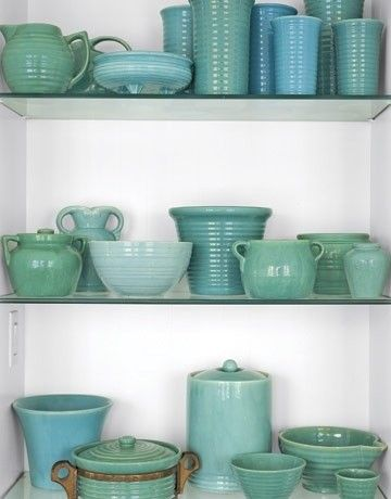 Blue and green pottery collection, how to fill a dining room built in