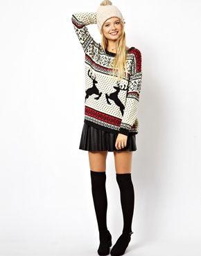 Image 4 ofASOS Christmas Jumper in Reindeer Fairisle