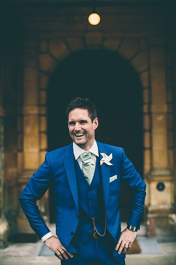 Wedding Paul Smith Blue Suit Groom Pinwheel http://samueldocker.co.uk/