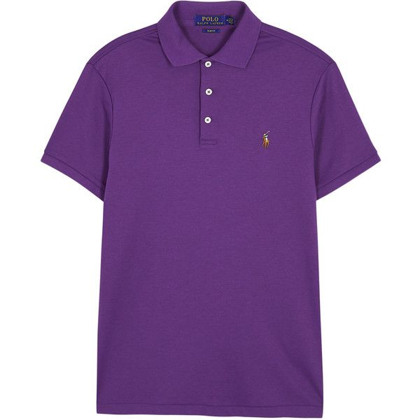 Polo Ralph Lauren Purple Slim Pima Cotton Polo Shirt - Size S ($97) ❤ liked on Polyvore featuring men's fashion, men's clothing, men's shirts, men's polos, mens slim fit polo shirts, mens purple shirt, mens slim fit shirts, mens purple polo shirts and mens embroidered shirts