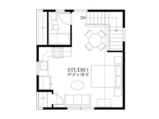 Craftsman - Garages with Apartments - HWEPL75839 - Level 2 {above garage} : eplans --- i would put a twin bed on top of stairwell (where arrow points down) to free up space. ~cm