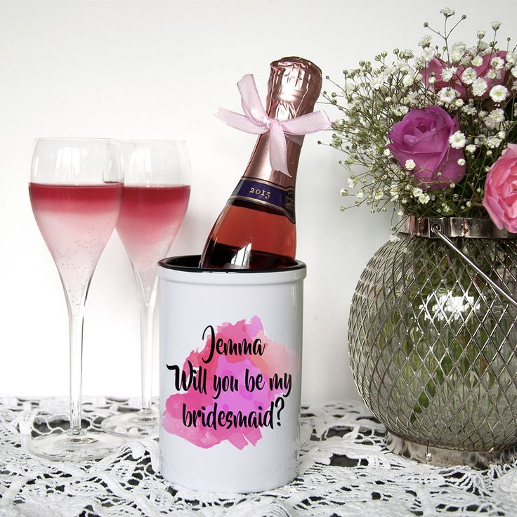 RRP £14.99 Will You Be My Bridesmaid Personalised Miniature Champagne Bucket-This miniature champagne bucket is an original and unique way of asking your favourite girls in your life to be your special bridesmaids. Fill with their favourite miniature champagne or sparkling wine to make the present complete. This bright and girly ceramic holder is a fantastic keepsake for the bridesmaids to use and treasure for years to come. #bridesmaid #willyoubemybridesmaid #wedding #personalisedgifts