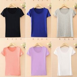 Fashion Lady Women\'s Modal Soft Elastics O-neck Short Sleeve Bottoming T-Shirt