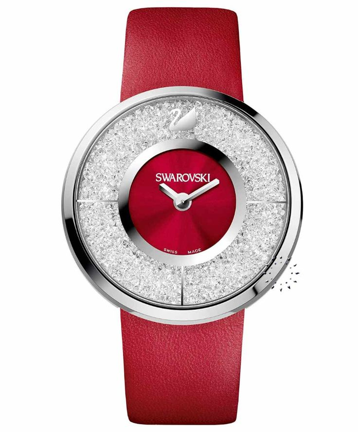 SWAROVSKI Crystalline Red Leather Strap Τιμή: 279€ http://www.oroloi.gr/product_info.php?products_id=34155