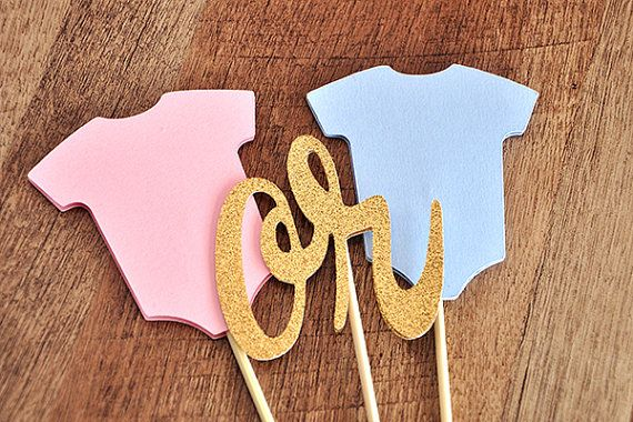 Gender Reveal Cake Topper.  Ships in 1-3 business days.  Gender Reveal Ideas.