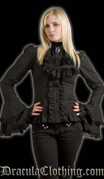 This black blouse features a detachable cravat, a high neck, and lace trimmed sleeves that flare out. Please see the size chart for measurements (measurements l
