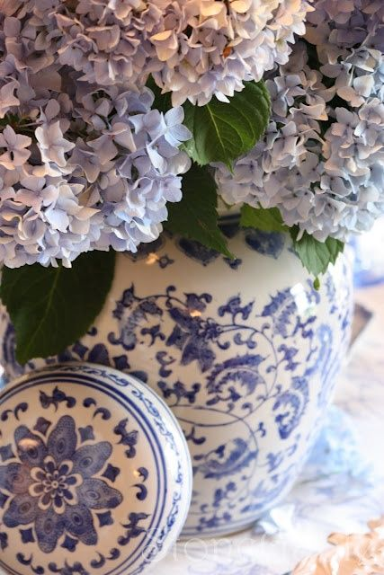 ginger jar with hydrangeas