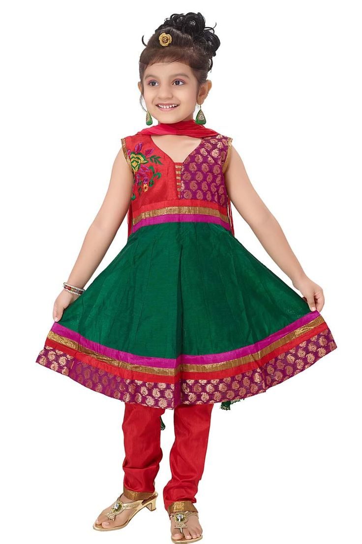 Glamour to the look of your baby girl.  Item Code: KDEW135GG http://www.bharatplaza.com/new-arrivals/kids-wear.html