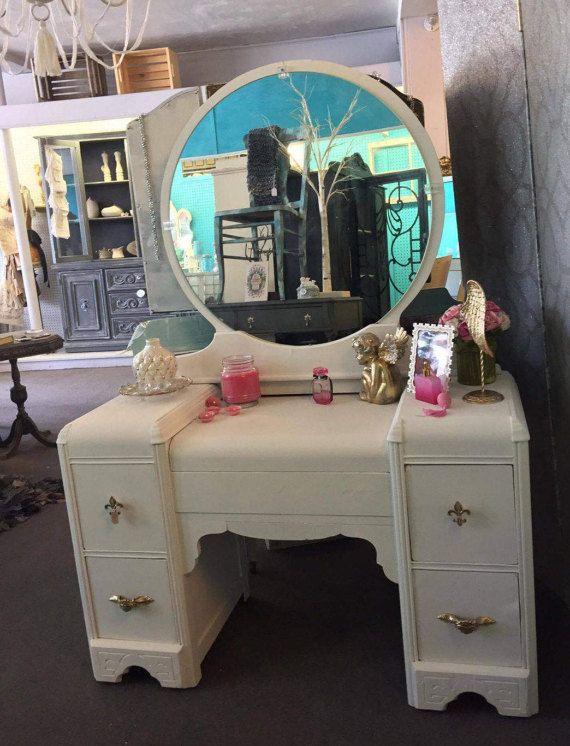 Antique Shabby Chic 1940s White Vanity Desk w Mirror Gold