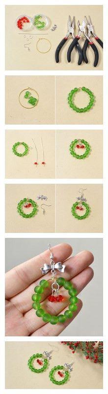 Easy Tutorial on Christmas Glass Beaded Earrings for Beginners