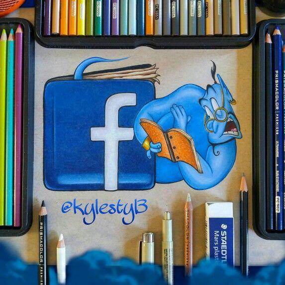 Facebook and Genie Social Media Mash Up Drawing