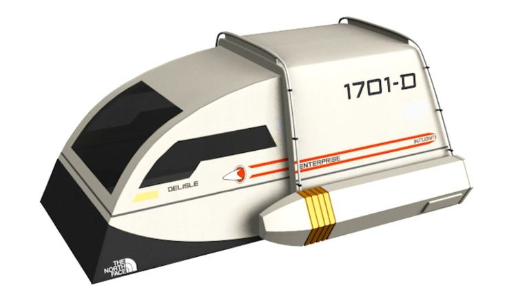This zany two-person tent looks like a Star Trek shuttlecraft