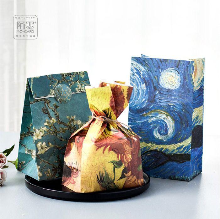 210*180*80mm/Hot Encounter Van Gogh Kraft Paper Gift Envelope/Festival gift bags/Paper bag /wholesale 60 pcs/1 lot #Affiliate