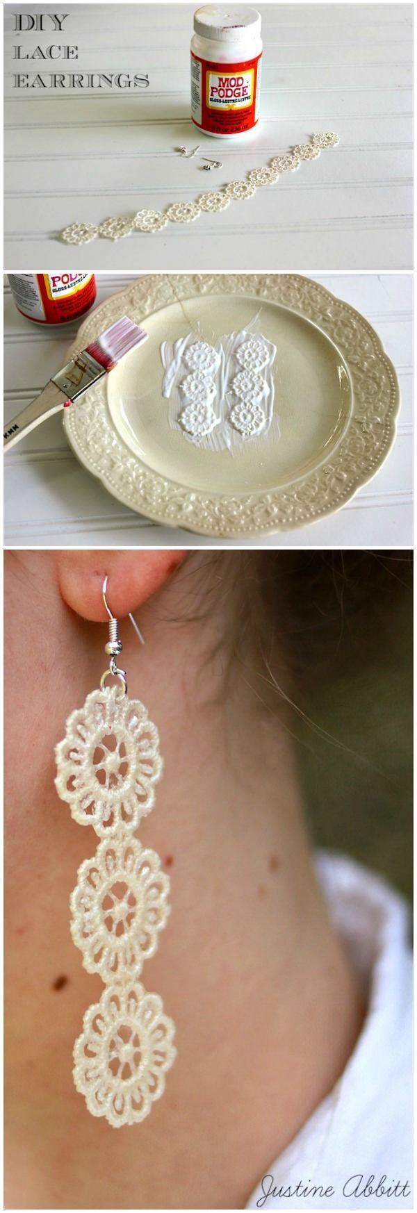 These gorgeous DIY lace earrings were made with some scraps that Justine had in her stash - they're so easy and make great gifts! via @modpodgerocks