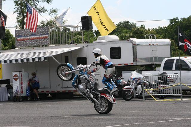 Bubba Blackwell wheelie at Gettysburg Bike Week.