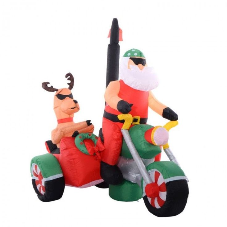 Inflatable Outdoor Christmas Decoration Winter Xmass Santa Claus Motorcycle Deer #InflatableOutdoorChristmasDecoration