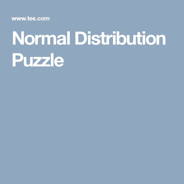 Normal Distribution Puzzle