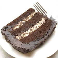 chocolate cassata, dense chocolate cake, filled with sweetened ricotta cheese and chocolate chips, and iced with creamy fudge frosting