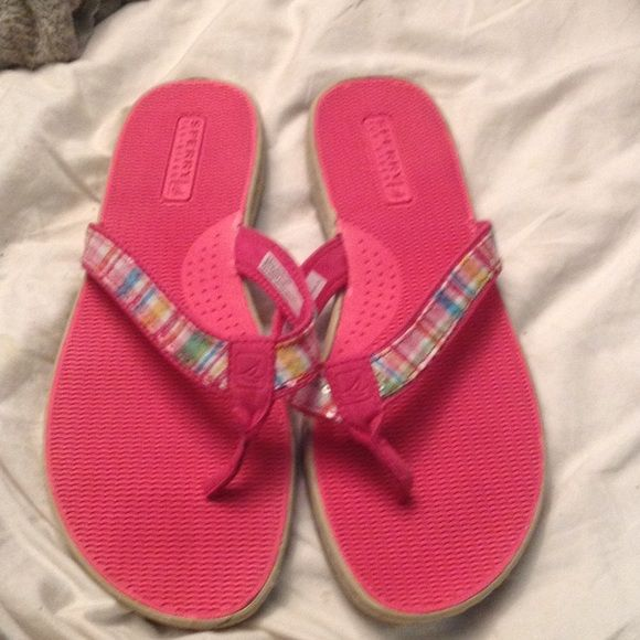 Sperry Sandals Madras plaid straps accented with clear sequins. In great shape! Sperry Top-Sider Shoes Sandals
