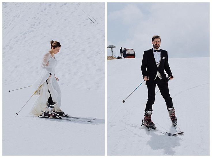 Skiing bride and groom