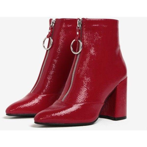 Červené členkové topánky na podpätku Miss Selfridge (4.590 RUB) ❤ liked on Polyvore featuring tops, miss selfridge tops, red top and miss selfridge