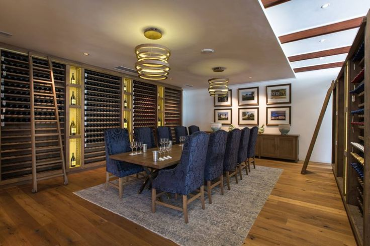 The Private Tasting Room at Rupert  Rothschild. Wine display units, dining table and side board all in French Oak and custom made by Pierre Cronje