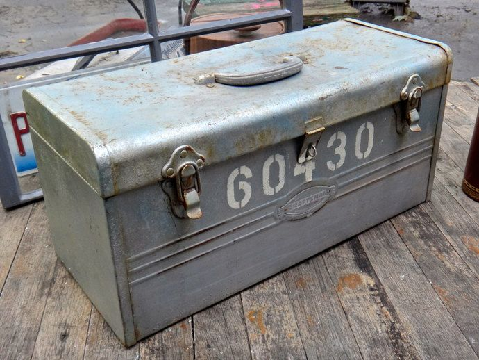 Toolbox, Craftsman Tool Box, 60430, Silver Tool Box, Craftsman, Metal Box, Man Cave, Dude, Industrial, Steampunk, Storage, Tool Storage by CasaKarmaDecor, $38.66 USD