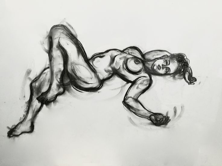 Female with Movement Lines, by Mick Connolly. Charcoal on paper, 59cm x 84cm (mounted and framed in Perspex)  From N U D E W E R K S at Atelier451 (April 24 - May 15, 2016)