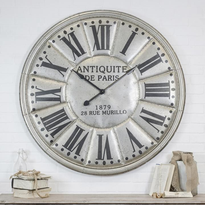 Large Antiquite De Paris Silver Wall Clock Rod Works Online In 2020 Large Silver Wall Clock Silver Wall Clock Clock
