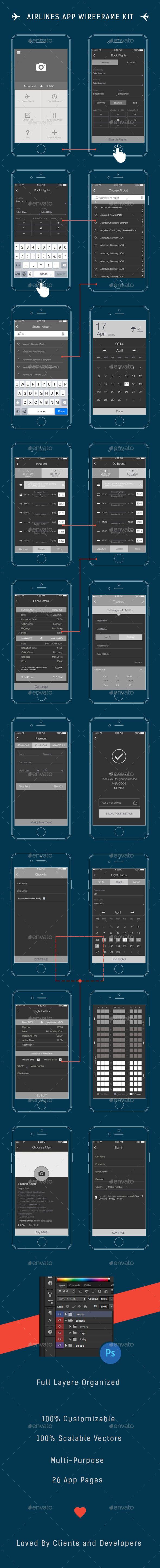 Airlines App Wireframe Kit U?/Ux